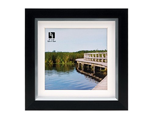 BorderTrends Legacy 6x6/5x5-Inch Photo Frame, Black with White -