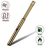 Elite Brands USA Plasma Arc Trendy Long Neck Rechargeable Windproof USB Lighter, Ideal for Gas Stove Candle Fireplace Kitchen Grills BBQ, Flameless Without Butane, Electric Beam Lighter (Gold)