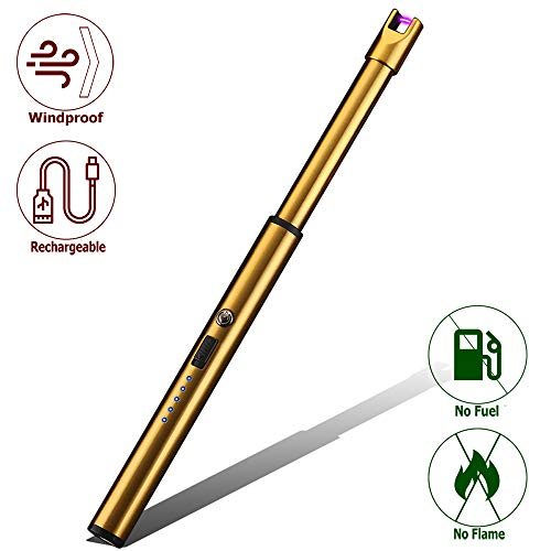 - Elite Brands USA Plasma Arc Trendy Long Neck Rechargeable Windproof USB Lighter, Ideal for Gas Stove Candle Fireplace Kitchen Grills BBQ, Flameless Without Butane, Electric Beam Lighter (Gold)