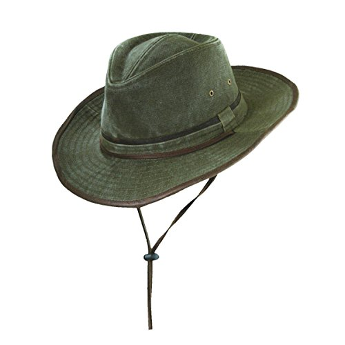 Dorfman-Pacific Washed Canvas Outback Hat With Chin Cord, Olive, Medium