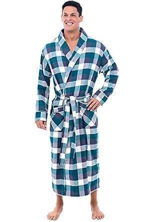 Alexander Del Rossa Mens Flannel Robe, Soft Cotton Bathrobe, XL Teal and Purple Plaid (A0707Q35XL)