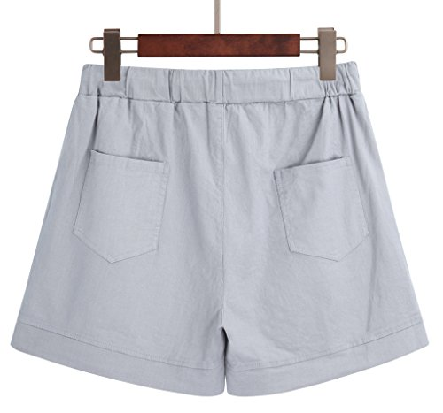 Yknktstc Womens Elastic Waist Cotton Linen Casual Beach Shorts with Drawstring US 14 Style 2 Grey by Yknktstc (Image #1)