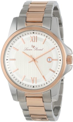 Lucien Piccard Men's 10048-SR-22S Breithorn Silver Textured Dial Two Tone Stainless Steel Watch