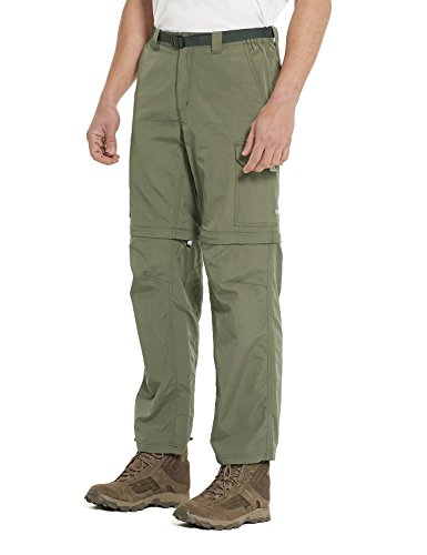 Baleaf Men's Quick Dry UPF 50+ Convertible Pants Greyish Green - Pants Short Convertible Mens