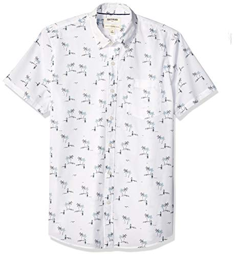 Goodthreads Men's Standard-Fit Short-Sleeve Printed Poplin Shirt, White Aloha, Medium