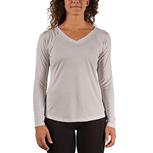 Vapor Apparel Women's V-Neck UPF 50+ Sun Protection Performance Long Sleeve T-Shirt Small Pearl Grey