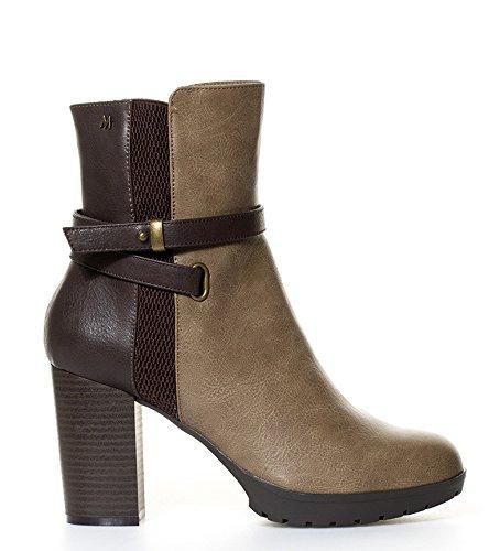 Maria Mare - Botines Heria Taupe, Chocolate-Altura tacón: 8,5cm- - 61193 - Talla 41: Amazon.es: Zapatos y complementos