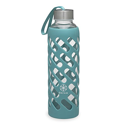 Gaiam Water Bottle Sure-Grip Glass Bottle with Protective Silicone Sleeve, Viridian, 20 oz