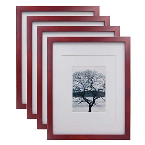 Egofine 11x14 Picture Frames 4 Pack Display Pictures 5x7/8x10 with Mat or 11x14 Without Mat Made of Solid Wood for Table Top Display and Wall Mounting Photo Frame, Dark Red (Photos Red For Frames)