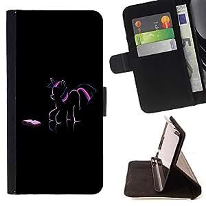 - PINK PURPLE PONY FAIRYTALE DRAWING ART UNICORN - - Prima caja de la PU billetera de cuero con ranuras para tarjetas, efectivo desmontable correa para l Funny HouseFOR Apple Iphone 5C