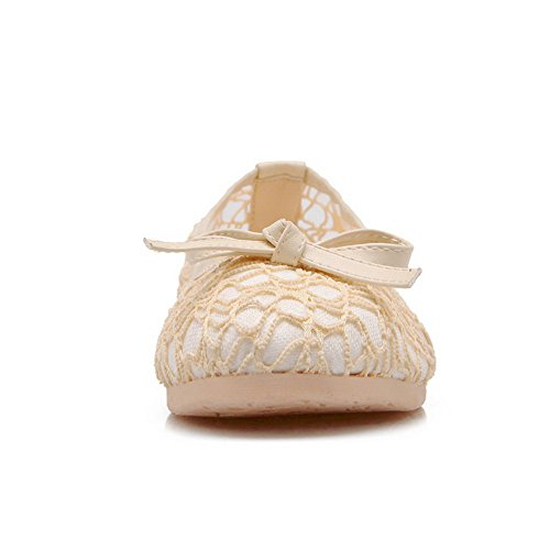 Lace Round Urethane BalaMasa Off Ballet Pull Flats white Toe Womens On paagxqF
