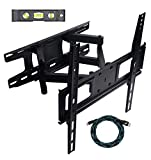 KECOBESTYEE Full Motion Articulating Dual Arm Tilt TV Wall Mount Bracket for 20-55 Inch LCD LED Plasma Flat Panel Screen VESA up to 400x400mm, 110lbs Weight Capacity, Includes HDMI Cable And Level