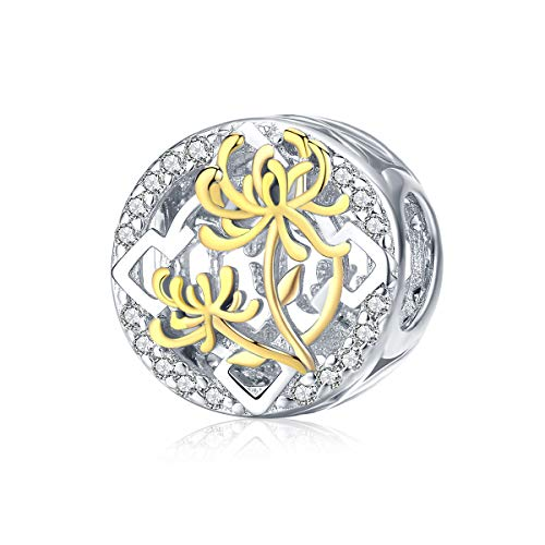 BAMOER Sterling Silver Charm Gold Plated Lotus Flower Bead Charm for Original Bracelet - Flower Sterling Charm Silver