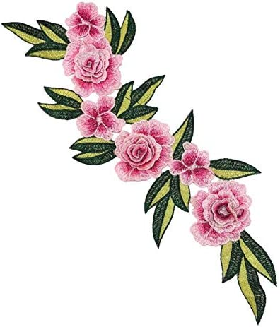 Peony Flower Embroidered Applique Craft Patch Iron /& Sewing On Jeans Dress Skirt