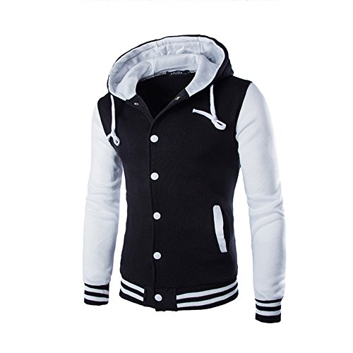 Retro Long Sweatshirt Sleeve White Outerwear Hooded Men Slim HARRYSTORE Hoodie Jacket Button Hooded wTTSCqY