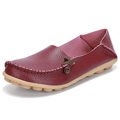 LabatoStyle Women's Casual Leather Loafers Driving Moccasins Flats Shoes (Wine Red, 11 B(M) US)