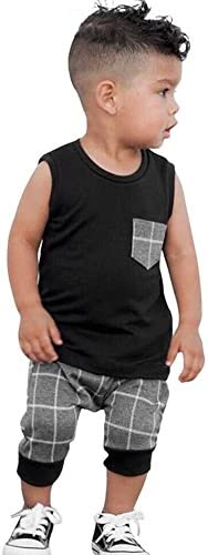 KONIGHT Infant Baby Boys Summer Casual Clothes Set Plaid Pocket Vest Tops +Shorts