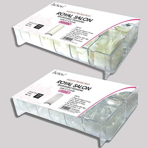 beYou 2PACK Natural/Clear Royal Salon 500 Artificial Fake Nails (total 1000Tips) 10Sizes For Nail Salon Nail Shop (25010/25012) (Royal Salon)