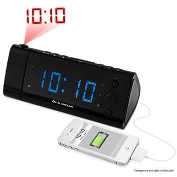 De carga USB Radio Despertador con proyección de la hora, la batería de reserva,