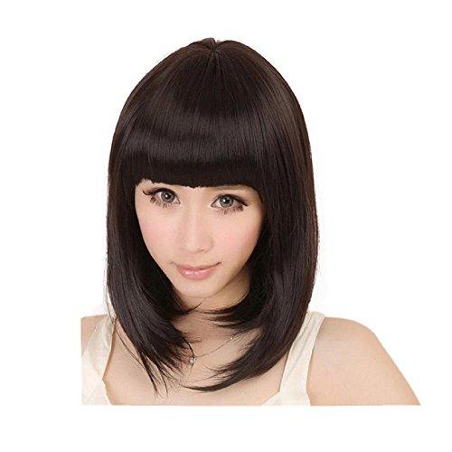 Vibola Hallowmas Wave head short wig Masquerade Hair Wig Straight BoBO Hair Wig sets (DarkBrown)