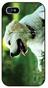 For SamSung Galaxy S4 Case Cover Case White labrador, green forest - black plastic case / dog, animals, dogs