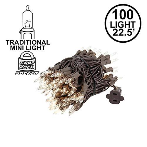 Novelty Lights 100 Light Clear Christmas Mini Light Set, Brown Wire, 22' Long