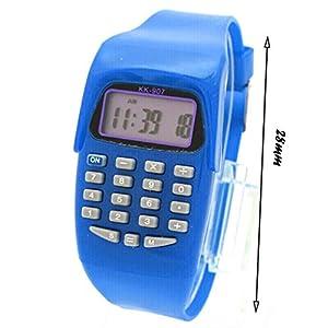 ZQT Relojes Digitales Casuales electrónicos Que Funcionan con la Moda Reloj de Pulsera Impermeable – Reloj electrónico LED para niños con calculadora de 8 dígitos Reloj Azul (Color : A)