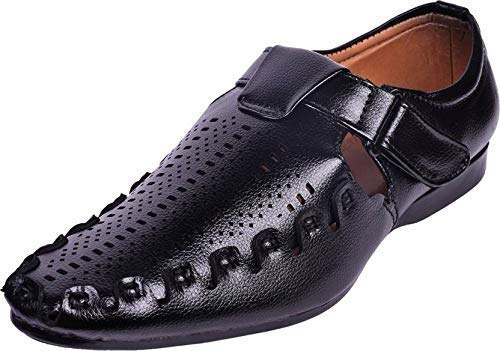 1f8f8a69e4ab7 RJKART Faux Leather Casual Black Slip-On Sandal Loafer Shoes for Men s Boys