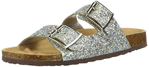Forever FQ79 Women's Sparkle Glitter Slip On Casual Sandals, Color:Silver, Size:7.5