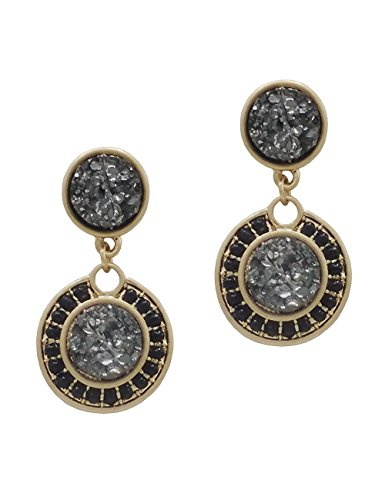 Bride Costume Target - Rosemarie Collections Women's Vintage Style Double Druzy Drop Statement Earrings (Smokey Grey)
