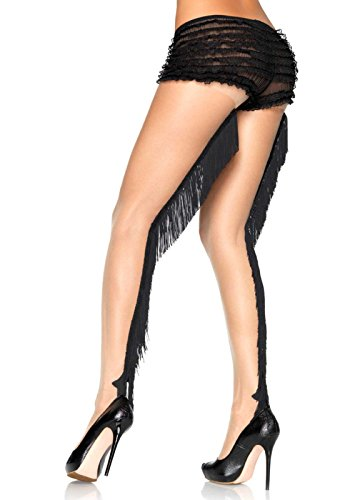 Leg Avenue Women's Fring Backseam Pantyhose, Nude/Black, ...