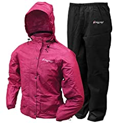 The Frogg Toggs Women's All Purpose Rain Suit includes both a jacket and a pant. The Jacket features an adjustable, tuck-away hood with E-Z push cord locks to protect the user's head and hair. The jacket comes in a full length parka cut and s...