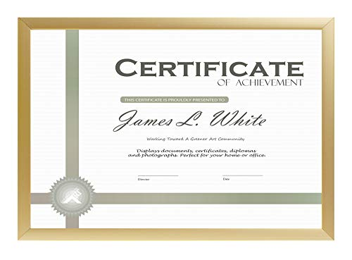 8.5x11 Gold Aluminum Frame for Certificate/Photo - Easel Stand for Tabletop - Landscape/Portrait - Wall Mounting - Real Glass