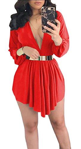 Jaycargogo Femmes Été V Cou À Manches Longues Taille Cravate Ourlet Irrégulière Envelopper Mini Robe Jaune