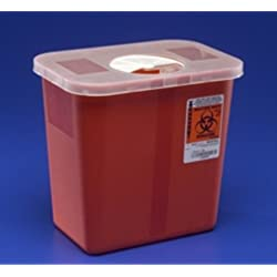 "Kendall 8970 Sharps Disposal Biohazard Waste Container with Rotor Lid, 2 Gallon Capacity, 10.5"" Width x 10"" Height x 7.25"" Depth, Red Base (Case of 20)"