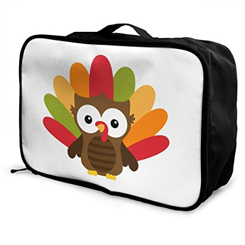 Thanksgiving Owl Lightweight Large Capacity Portable Luggage Bag Fashion Travel Duffel Bag