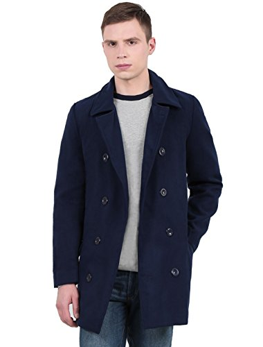 uxcell Men Long Sleeve Double Breasted Overcoat Navy Blue M US 40