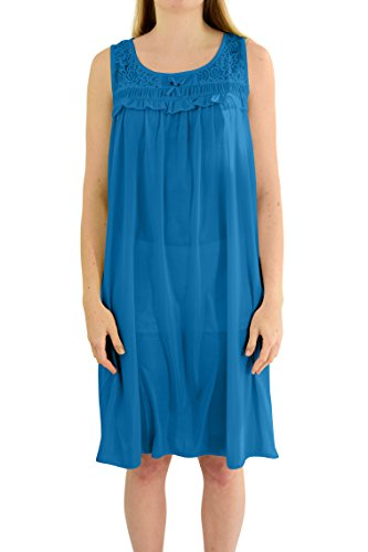 Ezi Women's 'Regina' Sleeveless Satin Nightgown, Jewel Blue, (Jewel Sleeveless Satin)