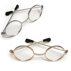 Doll Eyeglasses Set for 18 Inch American Girl Dolls - by Sophia's, 1 Pair Gold Doll Eyeglasses & 1 Pair Silver Doll Eyeglasses - Set of Gold & Silver Doll Glasses