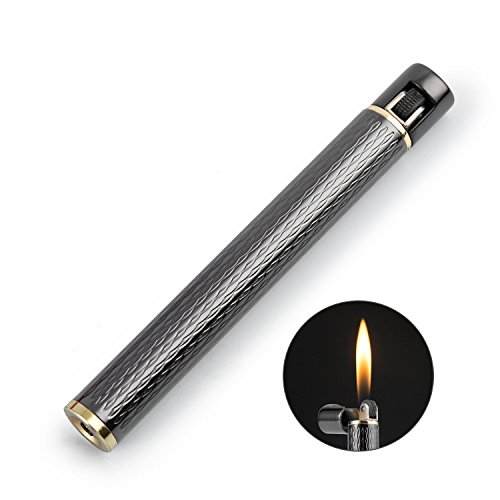 Cigarette Shaped Butane Lighter, Gas Refillable with 3 Back-up Flint Fire Starter for Men, Women (Gray)