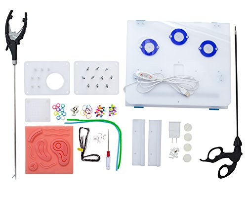 Laparoscopic Trainer Simulator Box kit for Student Training Use Includes Instruments and Accessories to Practice with| Includes Training Video