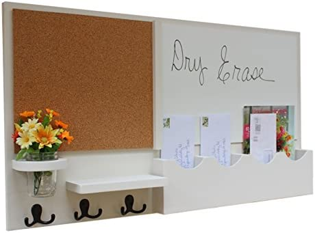 Legacy Studio Decor Message Center with Chalkboard Cork Board and Large Mail Slot