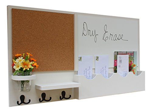 Legacy Studio Décor Message Center with White Board & Cork Board Mail Slots Key Hooks Mason Jar (Smooth, White) (Home Decor Dry Erase Board)