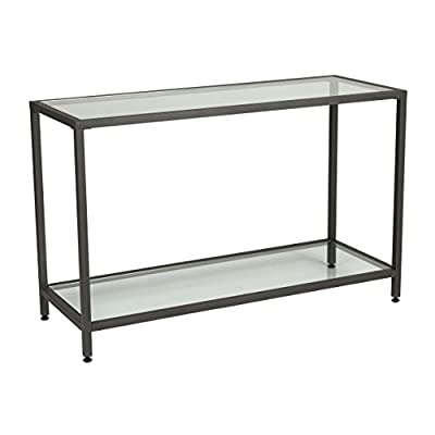 "Studio Designs Home .0 Camber Console Table In Pewter With Clear Glass - Overall Dimensions: 47""W x 18""D x 30""H Powder Coated Steel Frame for Durability Two Clear Glass Shelves: 24.21"" Distance - living-room-furniture, living-room, console-tables - 41BohPeBWUL. SS400  -"
