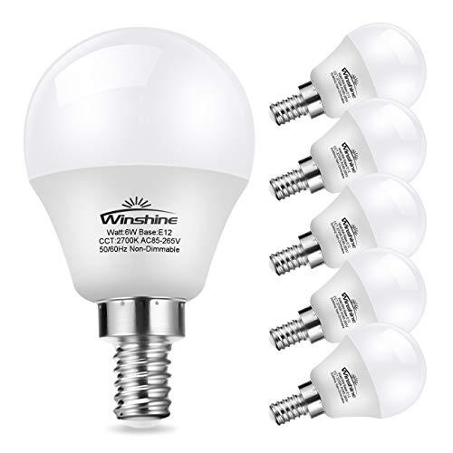 - Winshine G45 Candelabra Led Light Bulb, Globe Bulb for Chandelier .6W E12 Base Warm White Candle Light for Ceiling Fan, Chandelier Bulb, Non Dimmable LED Base Bulb, 6 Pack. (2700K)