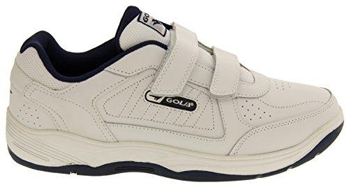 Gola AMA202 Belmont Hombre Zapatillas de Deporte del Velcro de Cuero Real Blanco - White Velcro