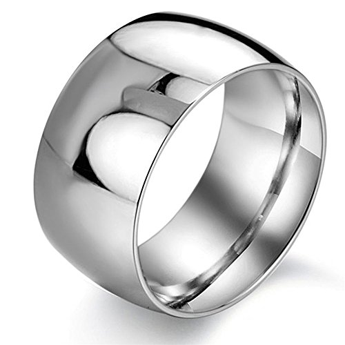 Skin Steel Steel Ring Stainless - JSDY Stainless Steel Silver Wide Polished Mens Toe Promise Bands Rings 11.5mm 7