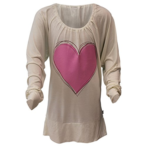 Arizona Mädchen Shirt Langarm Blau Motiv Stern Weiß Motiv Herz (164, Weiß)
