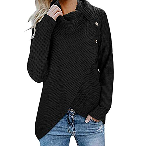 Franterd Spring Autumn Womens Long Sleeve Button Cowl Neck Casual Turtleneck Knitted Pullover Tunic Solid Sweaters