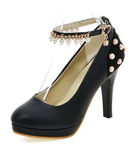 AgooLar Pumps Zehe Weiches Rund Schnalle Damen Hoher Eingelegt Schuhe Absatz Material Schwarz rFzr7qa